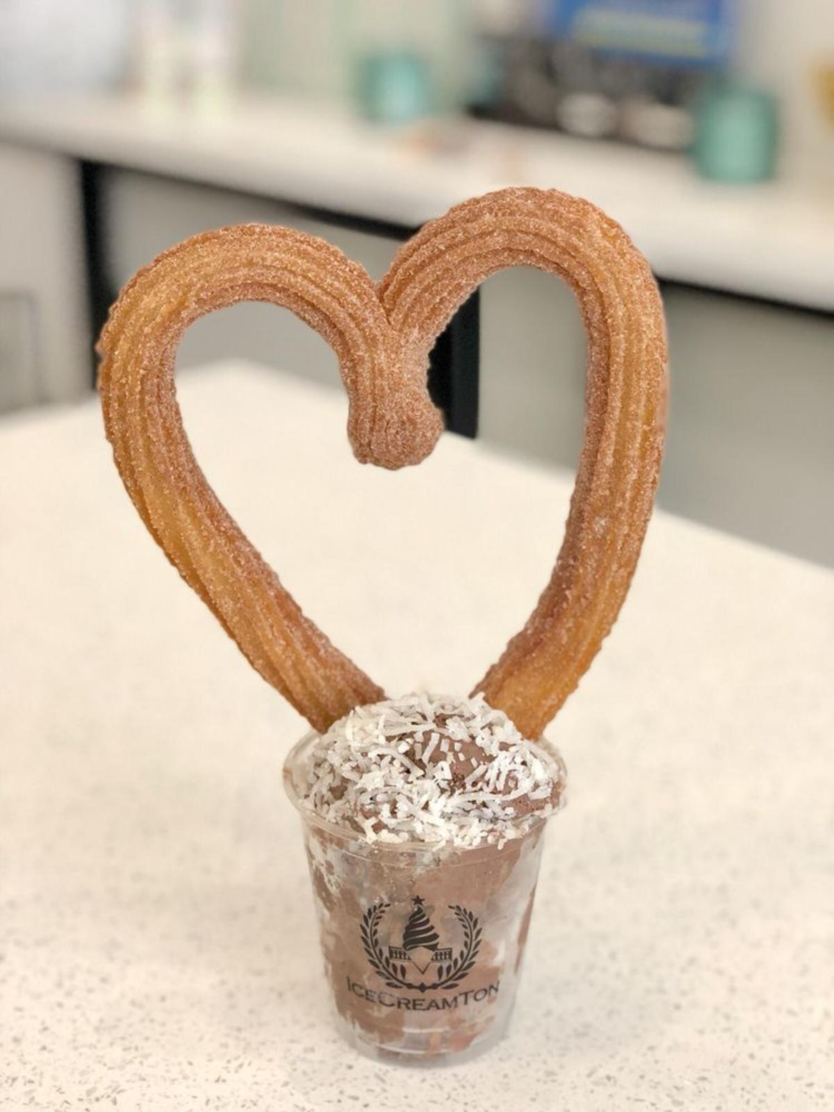 Ice cream cup with heart shaped churro at IceCreamTon in Huntington Beach