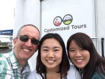 closeup of 3 happy tourists