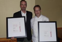 Restaurant Manager Mark Corr and Executive Chef David Hunt Receiving Sante Awards from Sante Magazine for Generations Restaurant and Straight Shot Bar at the Golden Arrow Lakeside Resort in Lake Placid, New York.