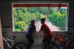 Office Bridge Cyclists by Todd Cooper