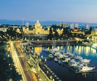 view of marina and city lights at dusk in Victoria British Columbia