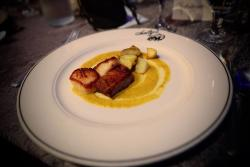 """Plated Pork Belly and Scallops in Curried Cream Sauce  Salty's """"Belly of the Whale"""" Dinner at the MaST Center Aquarium"""