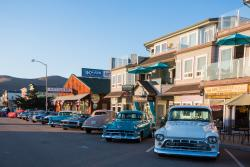 Classic cars on display in Downtown Cayucos