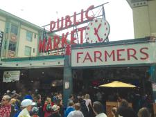 world-famous Pike Place Market in Seattle on a crowded summer day