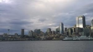 Downtown Seattle and waterfront while on Argosy Cruise in the Puget Sound