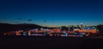 Holiday lights display at the Koziars Christmas Village event