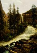 Albert Bierstadt (American, 1830-1902) Nevada Fall, Yosemite 1880. Oil on paper on canvas, 27 ½ x 20. Gift of Robert F. Rockwell, Jr.