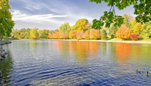 Bright fall colors reflect off the water at Children's Lake in Boiling Springs, PA.