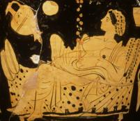 Danae and the shower of gold (detail). Red figure bell krater from Boeotia, ca. 430 BCE. Photo: Hervé Lewandowski. @Réunion des Musées Nationaux/Art Resource, NY
