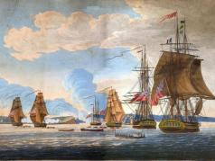 """""""Attack of Fort Oswego, on Lake Ontario, North America."""" May 6, 1814. Drawn by Captain Steele and engraved by R. Havell & Sons, c. 1814. Capt. Steele was on board one of the British ships and an eyewitness to the attack. Image is courtesy of the Collection of Paul Lear."""