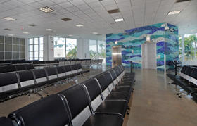 Interior photo of Cruise Terminal 26 passenger waiting area