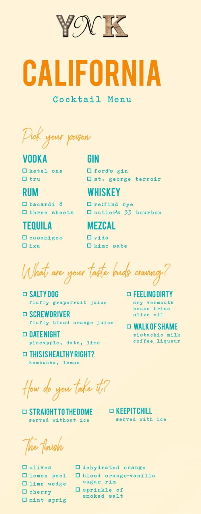 YNK California Cocktail Menu