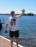 Erik Baard, the 2011 Greenest New Yorker sends greetings from the Boldt Yacht House on Wellesley Island on the St. Lawrence River. (Photo by Gary DeYoung, 1000 Islands International Tourism Council.)