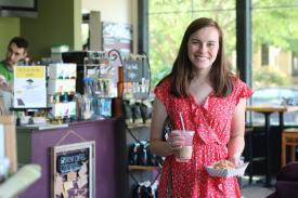 Customer at The Bridge Coffee House