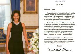 A letter and photograph from First Lady Michelle Obama stating the Town of Hunter's designation as a Preserve America community was received in Hunter Town Hall last month.