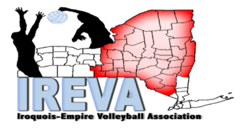 Ireva Volleyball Association logo showing volleyball players and a map of New York State