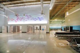 Interior photo of Cruise Terminal 19 passenger waiting area