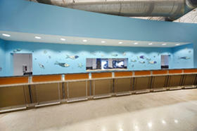 Interior photo of passenger check-in counters