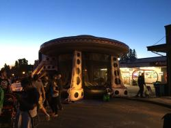 Larger than life UFO jumphouse for kids at Burien UFO Festival in Washington
