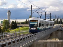 Sea-Tac Airport tower and Light Rail train
