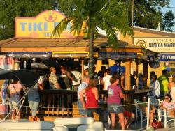 A crowd grows in front of Finger Lakes Water Adventure's Tiki Bar