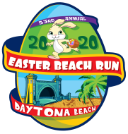 The Easter Beach Run logo is a fun egg-shaped, colorful logo that features the Daytona Beach Bandshell