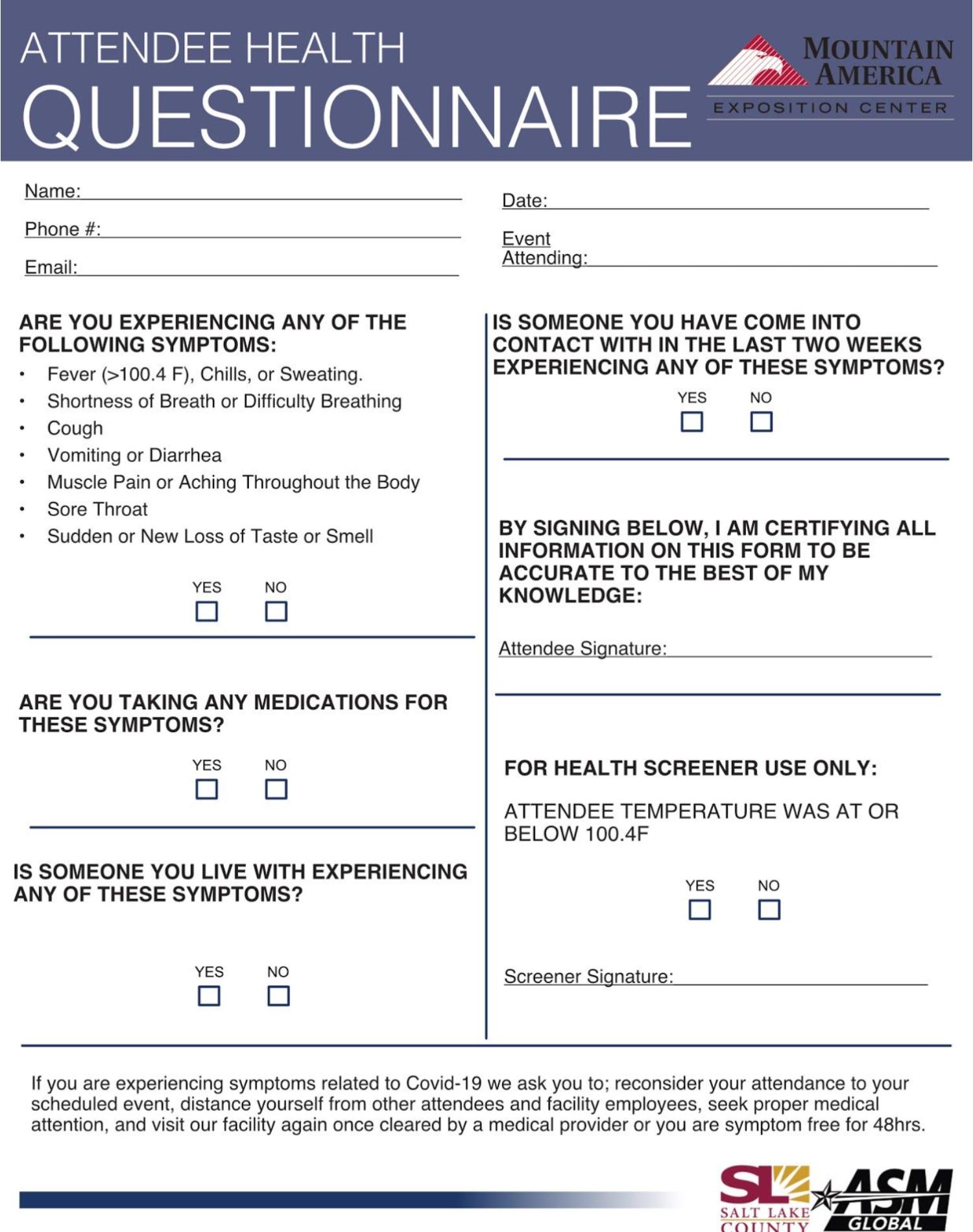 MAEC Health Questionnaire