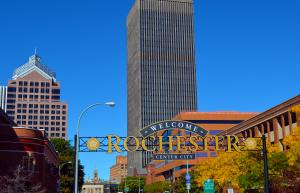 Welcome to Rochester, NY sign in the fall.
