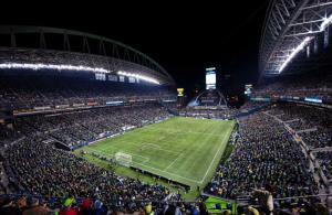Photo of Lumen Field Event Center at night, the Seattle Seahawks football field.