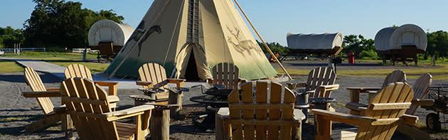 Conestoga Wagons, Teepees and campfire area at Oklahoma City's Orr Family Farm