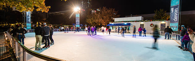 Downtown in December's Devon Ice Rink