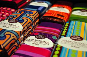 colorful stacks of candy bars from Seattle Chocolates in Tukwila Washington