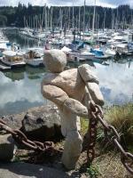 Rock statue near marina on Bainbridge Island