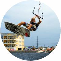 Kiteboarding on the oceanfront of the Outer Banks