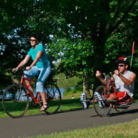 Cycling along the Willamette River, Eugene, by Michael Kevin Daly