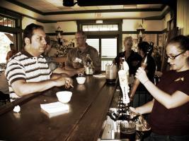 patrons enjoy beer on tap at the GCVM Depot Restaurant