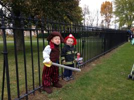 costumed children trick or treat at GCVM