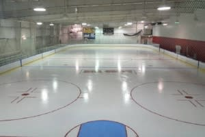 empty ice rink at Bill Gray's Iceplex in Rochester, NY