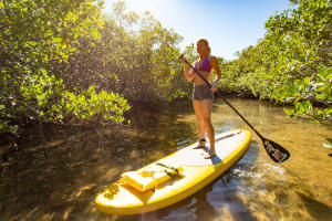 Woman on Stand Up Paddleboard at Don Pedro Island State Park