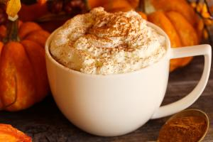 White cup of pumpkin spice latte