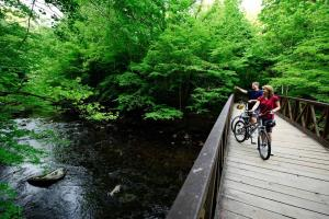 Couple Bicycling on Bridge 2