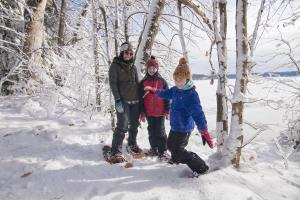Snowshoeing at Long Point State Park on Chautauqua Lake