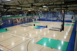 RecPlex fieldhouse view of courts from suspended track