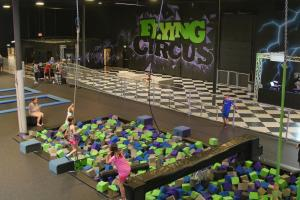 Kids playing in the foam pit at Defy (formerly Flying Circus)