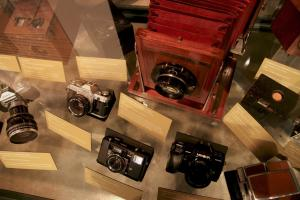 photo of camera exhibit at George Eastman Museum