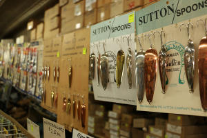 Closeup of bait and tackle inside of The Sutton Company store in Naples