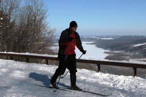 A cross country skier enjoys the views at Harriet Hollister