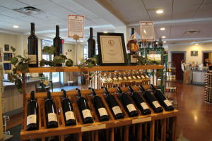 Belhurst-Winery-Geneva-Interior-tasting-room-red-wine-on-display-racks