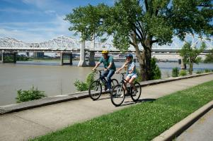 Two People Biking On The Greenway