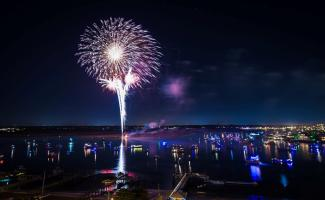 Holiday Flotilla fireworks along the Intracoastal Waterway